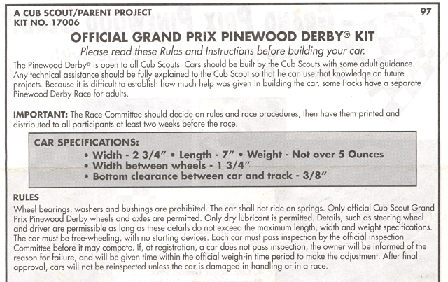 Pinewood Derby Rules ~ Pullen official pinewood derby rules